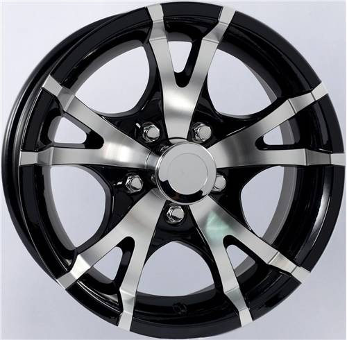 """Ford Ranger Lug Pattern >> 15"""" 5-Lug 5 Spoke T07 with Mat Black Inlays Aluminum Trailer Wheel Dick's Auto Parts, Middlebury IN"""