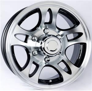 15 in. 5 Lug 10 Star Split Spoke T03 with Black Inlay Aluminum Trailer Wheel