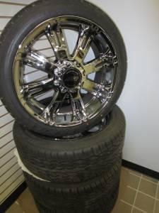 """'92-'2010 Chevy/GMC Silverado/Sierra 2500/3500, '03-'18 Chevy Van, 22"""" 8 Lug American Racing Aftermarket Wheels & Falken Ziex S/TZ-05 Tires"""