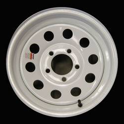 15 in. 5-Lug Mod White Steel Trailer Wheel