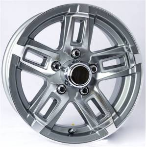 14 in. 5-Lug 5 Spoke T06 with Gunmetal Gray Inlays Aluminum Trailer Wheel