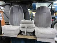 Custom C-200 Tri-Way Seats - Ford Truck Seats - DAP - 80-98 Ford F-250/F-350 Ext Cab with Original OEM Bucket Seats C-200 Light Gray Cloth Triway Seat