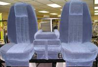 Custom C-200 Tri-Way Seats - Ford Truck Seats - DAP - 80-98 Ford F-250/F-350 Ext Cab with Original OEM Bucket Seats C-200 Blue Cloth Triway Seat