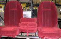 Custom C-200 Tri-Way Seats - Ford Truck Seats - DAP - 80-98 Ford F-250/F-350 Ext Cab with Original OEM Bucket Seats C-200 Burgundy Cloth Triway Seat