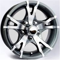 Trailer Tires & Wheels - 15 in. Trailer Wheels  - 15 in. 5-Lug 5 Spoke T07 with Gunmetal Gray Inlays Aluminum Trailer Wheel