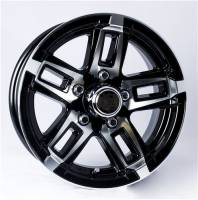 "Trailer Tires & Wheels - 15"" Trailer Wheels  - 15"" 5-Lug 5 Spoke T06 with Black Insets Aluminum Trailer Wheel"