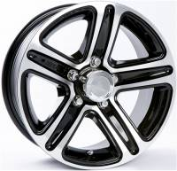 "Trailer Tires & Wheels - 15"" Trailer Wheels  - 15"" 6-Lug 5 Spoke T09 with Black Inlays Aluminum Trailer Wheel"