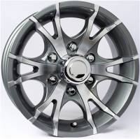 "Trailer Tires & Wheels - 15"" Trailer Wheels  - 15"" 6-Lug 5 Spoke T07 with Gunmetal Gray Inlays Aluminum Trailer Wheel"