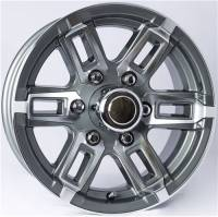 "Trailer Tires & Wheels - 15"" Trailer Wheels  - 15"" 6-Lug 5 Spoke T06 with Gunmetal Gray Inlays Aluminum Trailer Wheel"