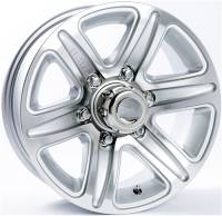 "Trailer Tires & Wheels - 15"" Trailer Wheels  - 15"" 6-Lug 5 Spoke T09 with Silver Inlays Aluminum Trailer Wheel"