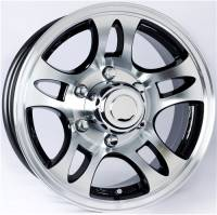 "Trailer Tires & Wheels - 15"" Trailer Wheels  - 15"" 6 Lug 10 Star Split Spoke T03 with Black Inlay Aluminum Trailer Wheel"