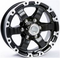 "Trailer Tires & Wheels - 15"" Trailer Wheels  - 15"" 6 Lug 6 Star T08 with Black Inlay Aluminum Trailer Wheel"