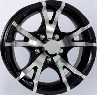 "Trailer Tires & Wheels - 15"" Trailer Wheels  - 15"" 5-Lug 5 Spoke T07 with Glossy Black Inlays Aluminum Trailer Wheel"