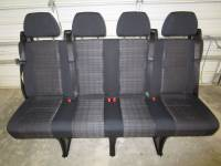New and Used OEM Seats - Mercedes Benz Replacement Seats - 14-18 Mercedes Benz Sprinter Van 4-Passenger Black Cloth Rear Bench Seat