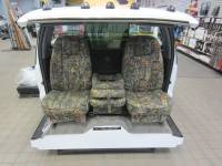 Custom C-200 Tri-Way Seats - Ford Truck Seats - DAP - 80-98 Ford F-250/F-350 Ext Cab with Original OEM Bucket Seats C-200 Camo Cloth Triway Seat