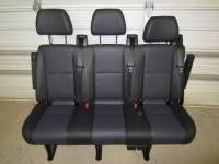 New and Used OEM Seats - Mercedes Benz Replacement Seats - 14-16 Mercedes Benz Sprinter Van 3-Passenger Black Leather Rear Bench Seat