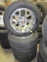 "Takeoff Wheels & Tires - Chevrolet & GMC Truck Wheels & Tires - 88-18 GMC Sierra 1500 20"" 6 Lug Polished Aluminum Wheels & P275/55/20 Goodyear Wrangler SR-A Tires"