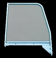 Door Parts - Chevy - 55-59 Chevy/GMC P/U RH Passenger's Side Door Window Glass, Green Tint, w/Chrome Frame