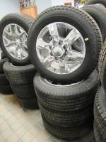 Takeoff Wheels & Tires - Chevrolet & GMC Truck Wheels & Tires - New 11-18 GMC Sierra 2500/3500 8 Lug 20 in. OEM Polished 6 Spoke Wheels & Goodyear Wrangler SR-A LT265/60/R20 Tires