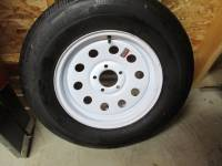 Trailer Tires & Wheels - Takeoff Trailer Wheels and Tires - Rainier ST ST205/75R15 Load Range C Trailer Tires with White Steel 15 in. 5-Lug Trailer Wheels