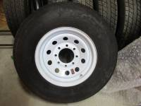 Trailer Tires & Wheels - Takeoff Trailer Wheels and Tires - Rainier ST ST235/80R16 Load Range E Trailer Tires with White Steel 16 in. 8-Lug Trailer Wheels
