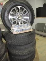 "Takeoff Wheels & Tires - Ford Truck and Van Wheels & Tires - NEW 05-19 Ford F-250/F-350 Super Duty 8 Lug 18"" Machined Aluminum w/Dk Gray Insert Wheels & Goodyear Wrangler All Terrain Adventure LT275/70R18 Tires"