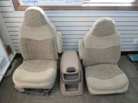 New and Used OEM Seats - Ford Replacement Seats - 99-00 Ford F-250/F-350 Super Duty Tan Cloth Bucket Seats w/ Center Console