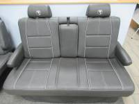 New and Used OEM Seats - Chevy/GMC Replacement Seats - 95-16 Chevy Express/GMC Savanna Van Gray W/ White Stitching Leather Conversion Van Dual Arm Sofa