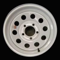 14 in. 5-Lug Mod White Steel Trailer Wheel