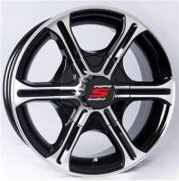 "Trailer Tires & Wheels - 14"" Trailer Wheels  - 14"" 5-Lug 6 Spoke T05 with Black Inlays Aluminum Trailer Wheel"